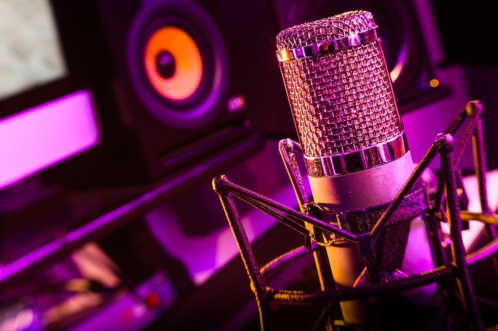 Microfoon in de opnamestudio Aken